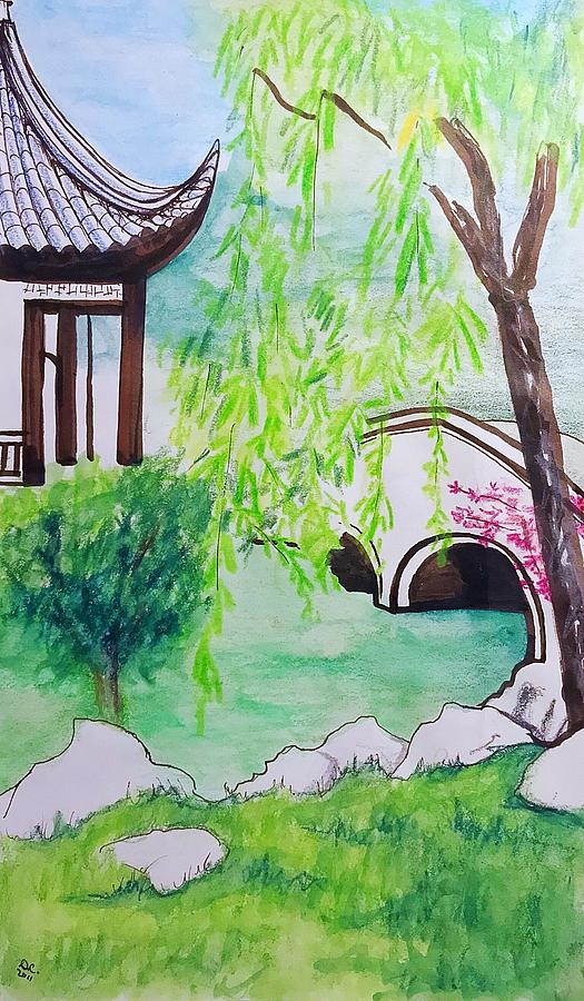 Chinese Garden At The Huntington Library Drawing By Danielle Rosaria
