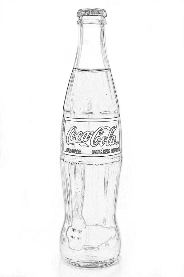 Coca Cola Black Outline On White Photograph by Terry DeLuco