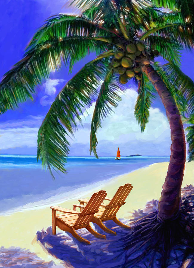 Coconut Palm Painting by David Van Hulst