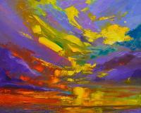 Coloful Sunset, Oil Painting, Modern Impressionist Art ...