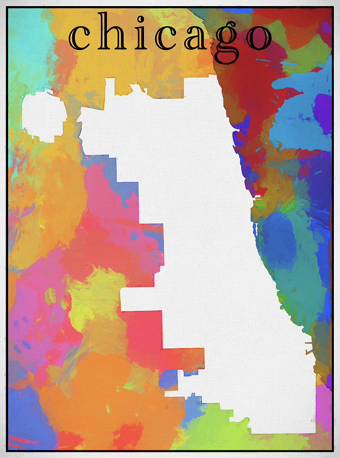 colorful chicago map outline