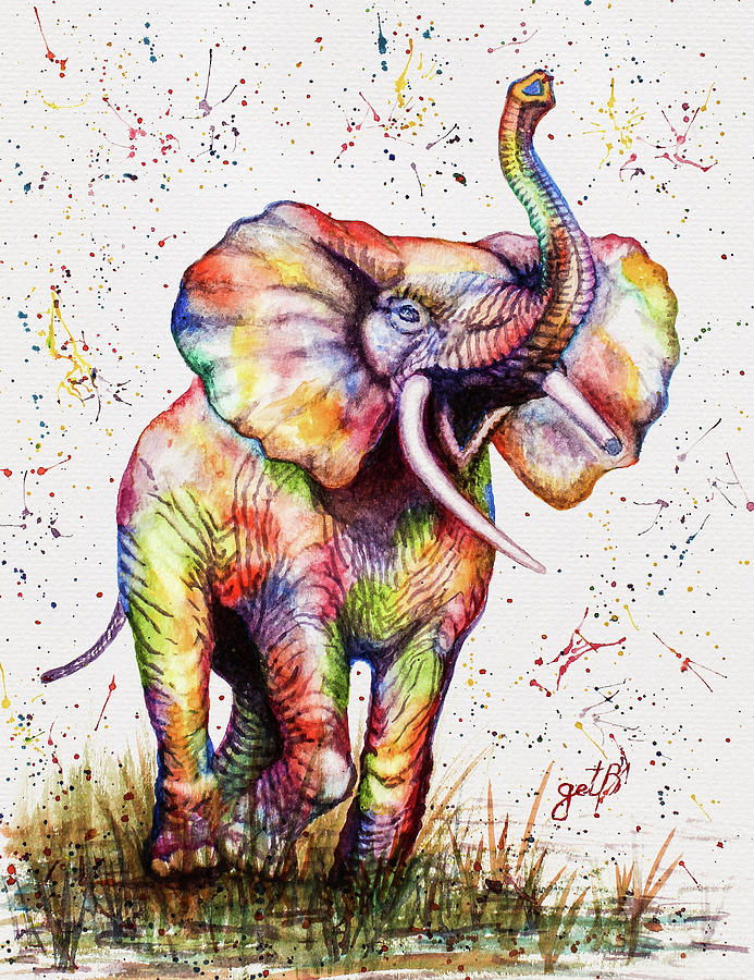 colorful watercolor elephant by