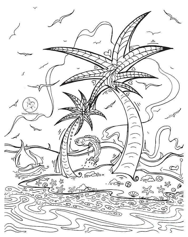Coloring Page With Beautiful Tropical Island Drawing By