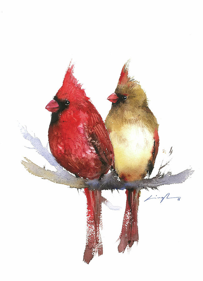 Couple Cardinal Watercolor Painting Painting by Nitin Singh