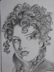 curly hair girl drawing mayur