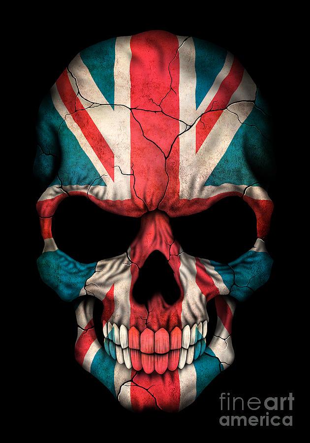 Union Jack Iphone Wallpaper Dark Union Jack British Flag Skull Digital Art By Jeff Bartels