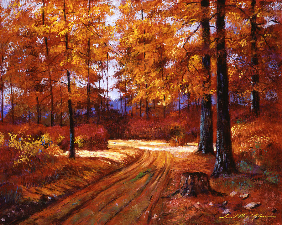 Deep Forest Road Painting by David Lloyd Glover
