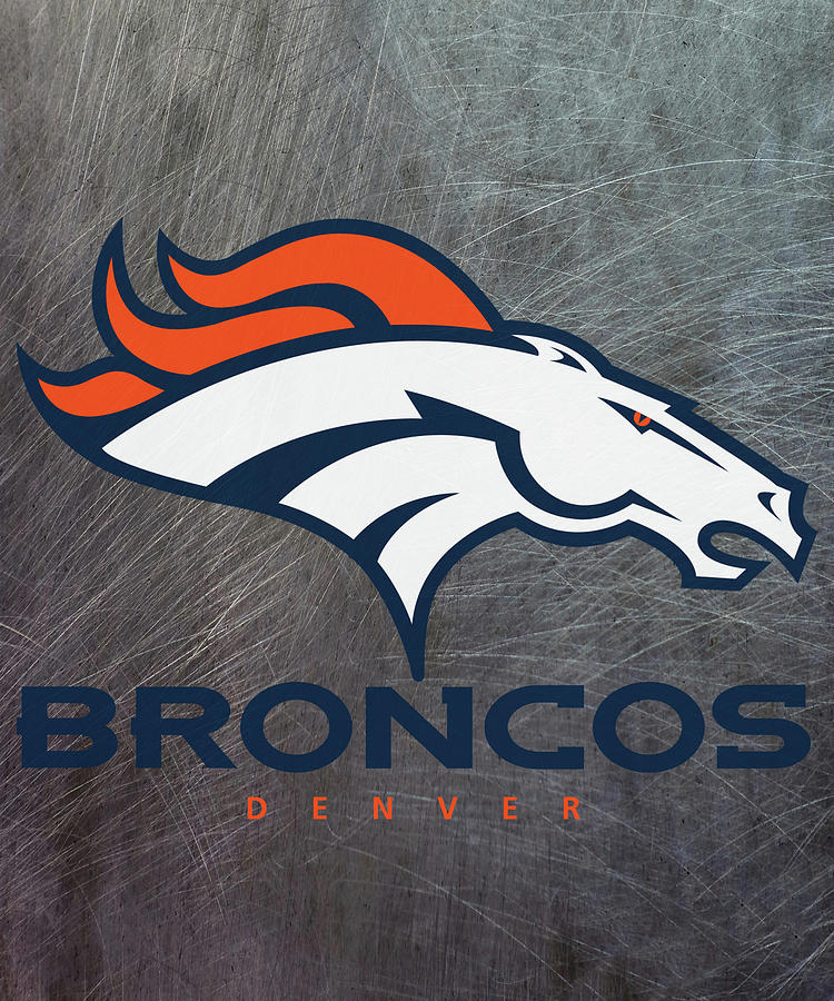 denver broncos on an abraded steel texture by movie poster prints