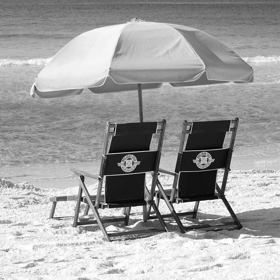 Beach Chairs With Umbrella Destin Florida Beach Chairs And Umbrella Square Format Black And White By Shawn O Brien