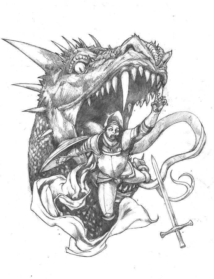 Dragon Food Drawing by Amiri Bennett