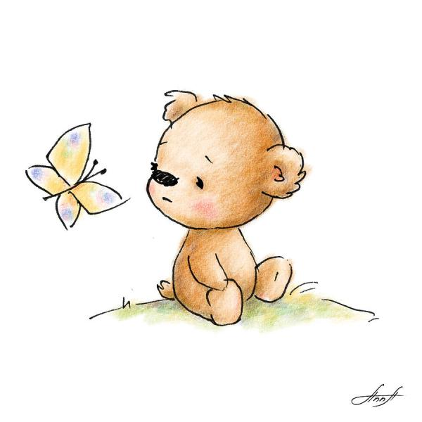 Drawing Of Cute Teddy Bear With Butterfly Anna
