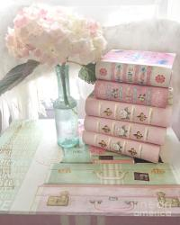 Pink Books Hydrangea Flowers Wall Decor - Shabby Chic ...