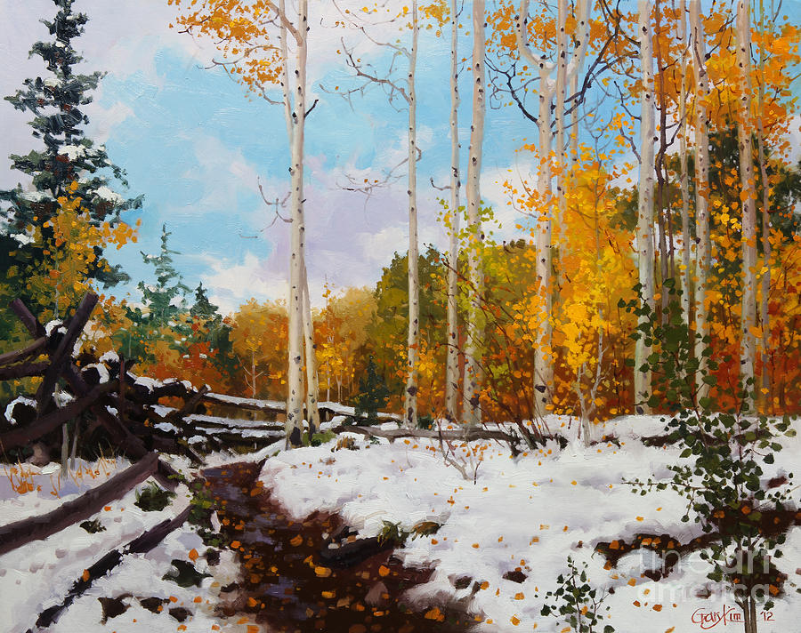 Early Snow Of Santa Fe National Forest Painting By Gary Kim