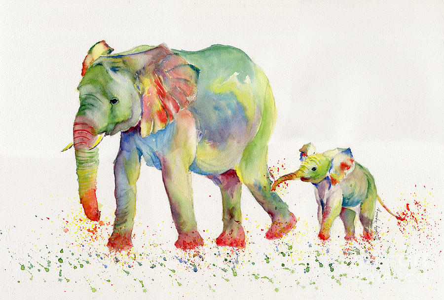 elephant family watercolor by