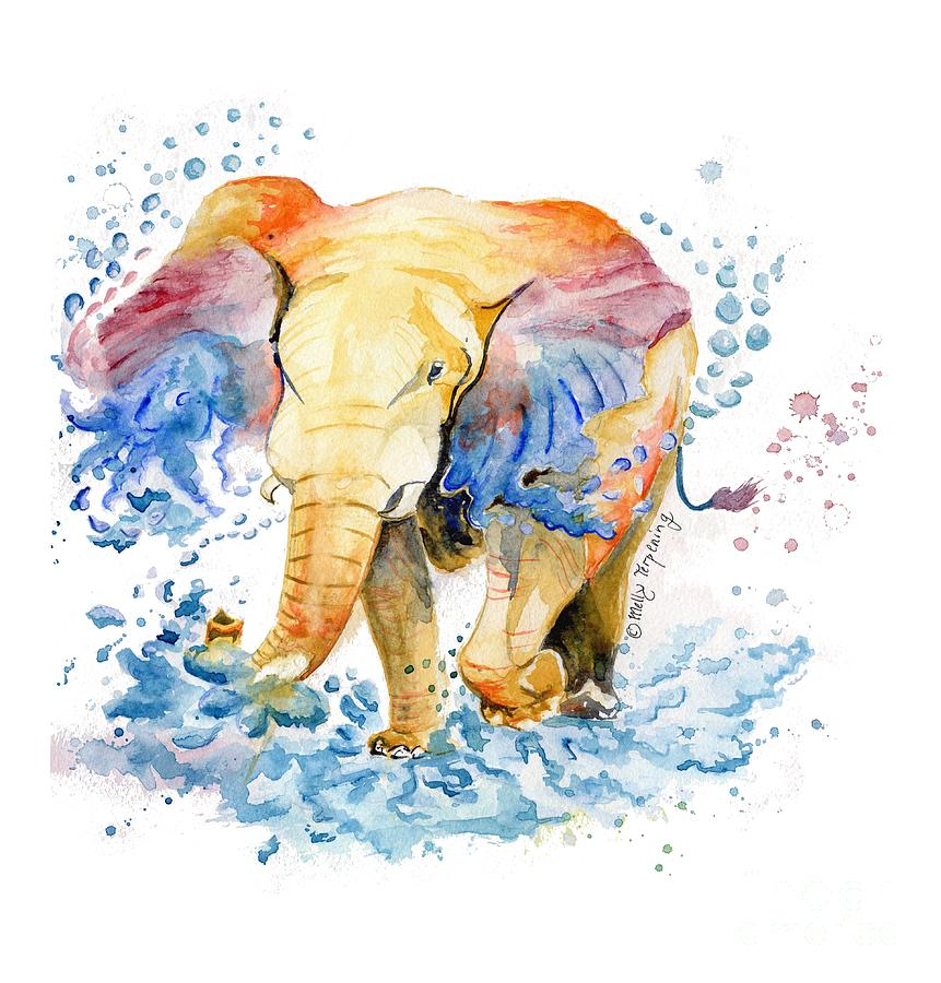 elephant watercolor by melly