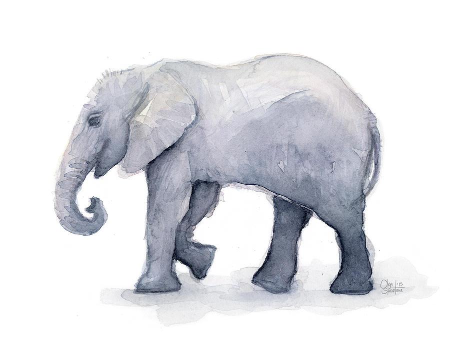 elephant watercolor by olga