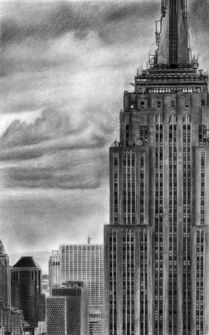 pencil building drawing york empire state david rives drawings sketches nueva dibujo artist redbubble poster paintings