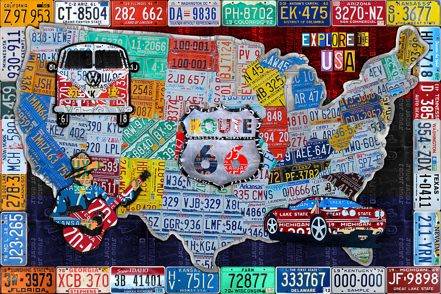 50s Car Wallpaper Iphone Explore The Usa License Plate Art And Map Travel Collage