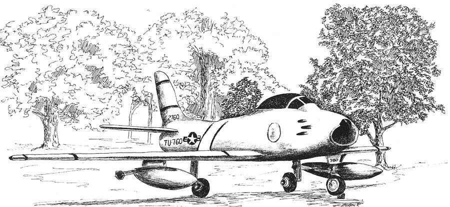 F86 Sabre Jet Drawing by Barney Hedrick