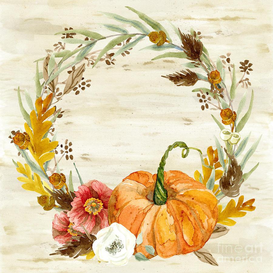 Fall Autumn Harvest Wreath On Birch Bark Watercolor