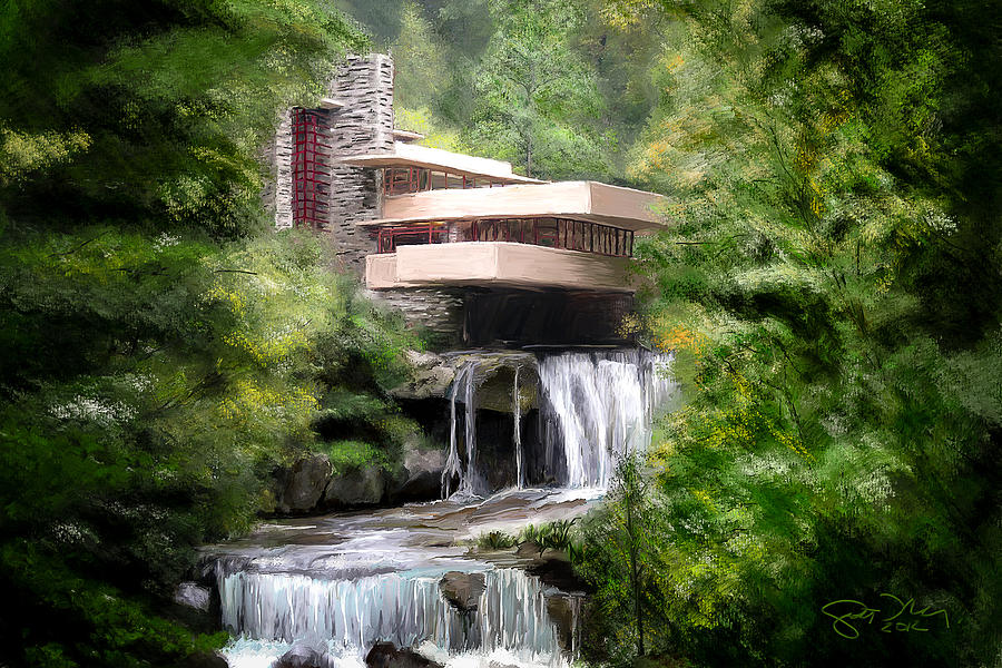 Frank Lloyd Wright Falling Water Wallpaper Fallingwater Frank Lloyd Wright Painting By Scott Melby