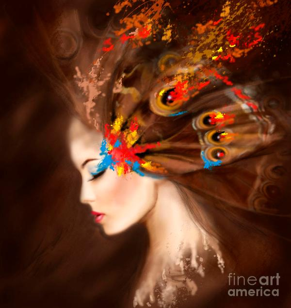 Fantasy Portrait Beautiful Woman Butterfly. Digital Art