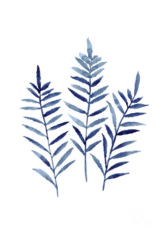 Fern Plant Print Navy Blue Botanical Wall Decor Abstract Home Garden Art Print Painting By
