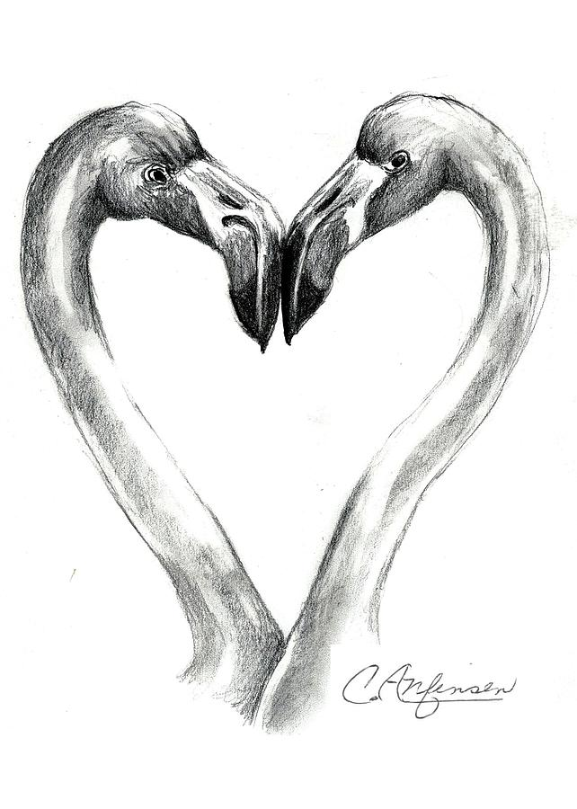flamingos in love by