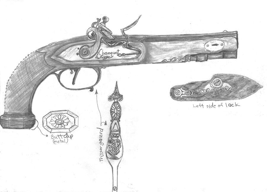 Flintlock Circa 1800 Drawing by Kevin Callahan