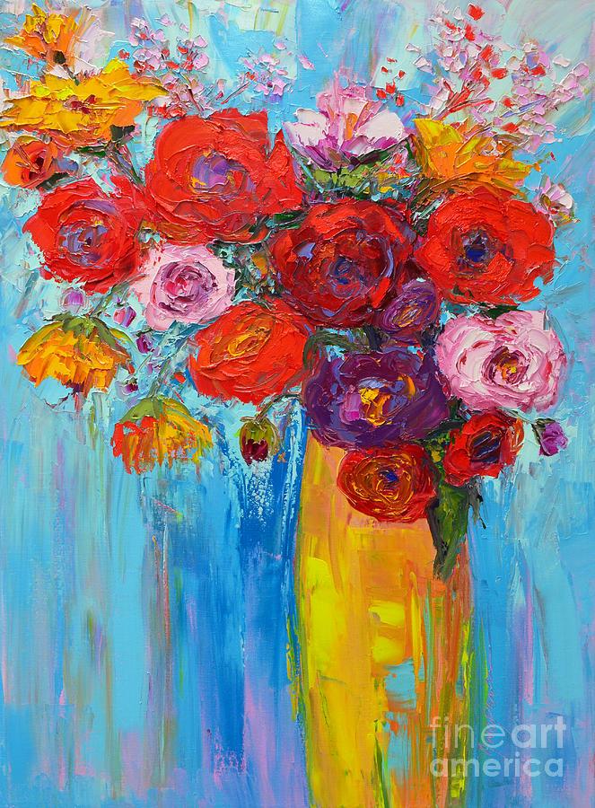Impressionist Oil Painting : impressionist, painting, Roses, Peonies,, Original, Impressionist, Painting, Patricia, Awapara