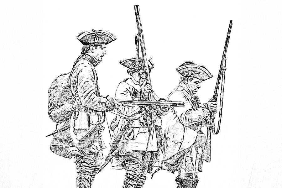 French And Indian War British Soldiers Sketch Digital Art