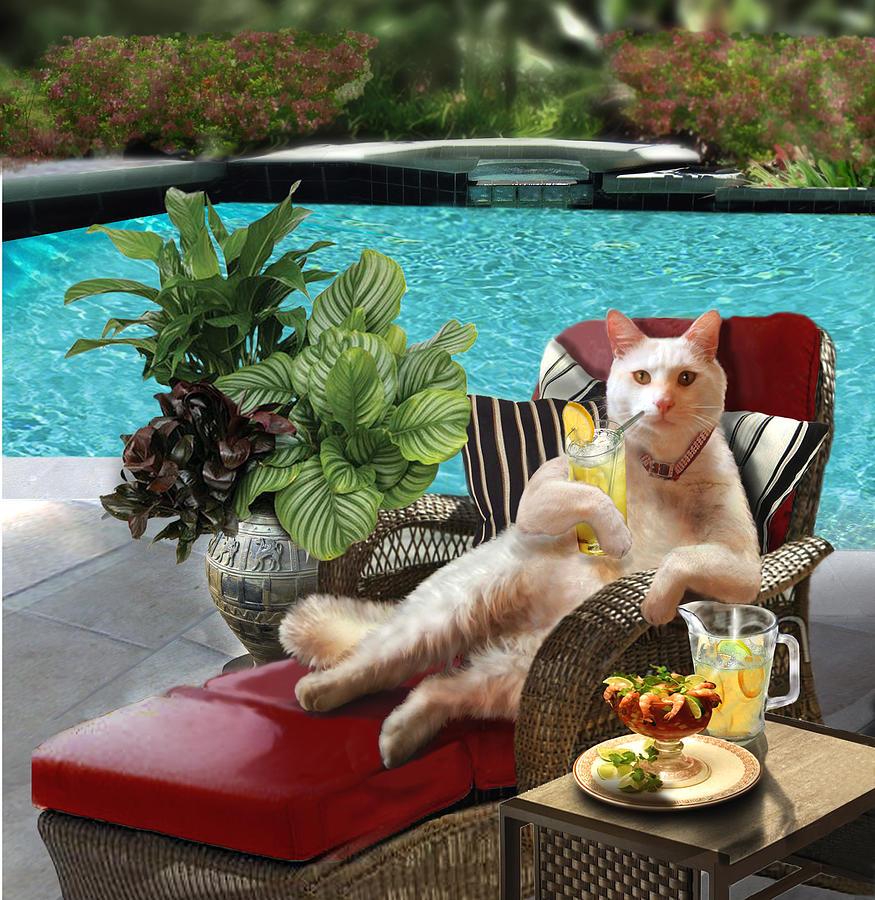 Funny Pet Vacationing Kitty Painting By Regina Femrite