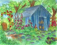 Garden Potting Shed Painting by Cathie Richardson