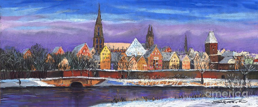 Germany Ulm Panorama Winter Painting By Yuriy Shevchuk
