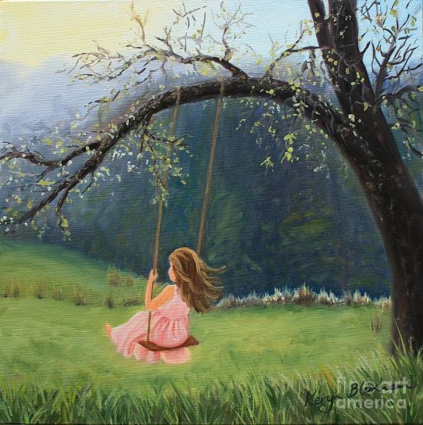 Girl Swing Painting Keryn Bloxham
