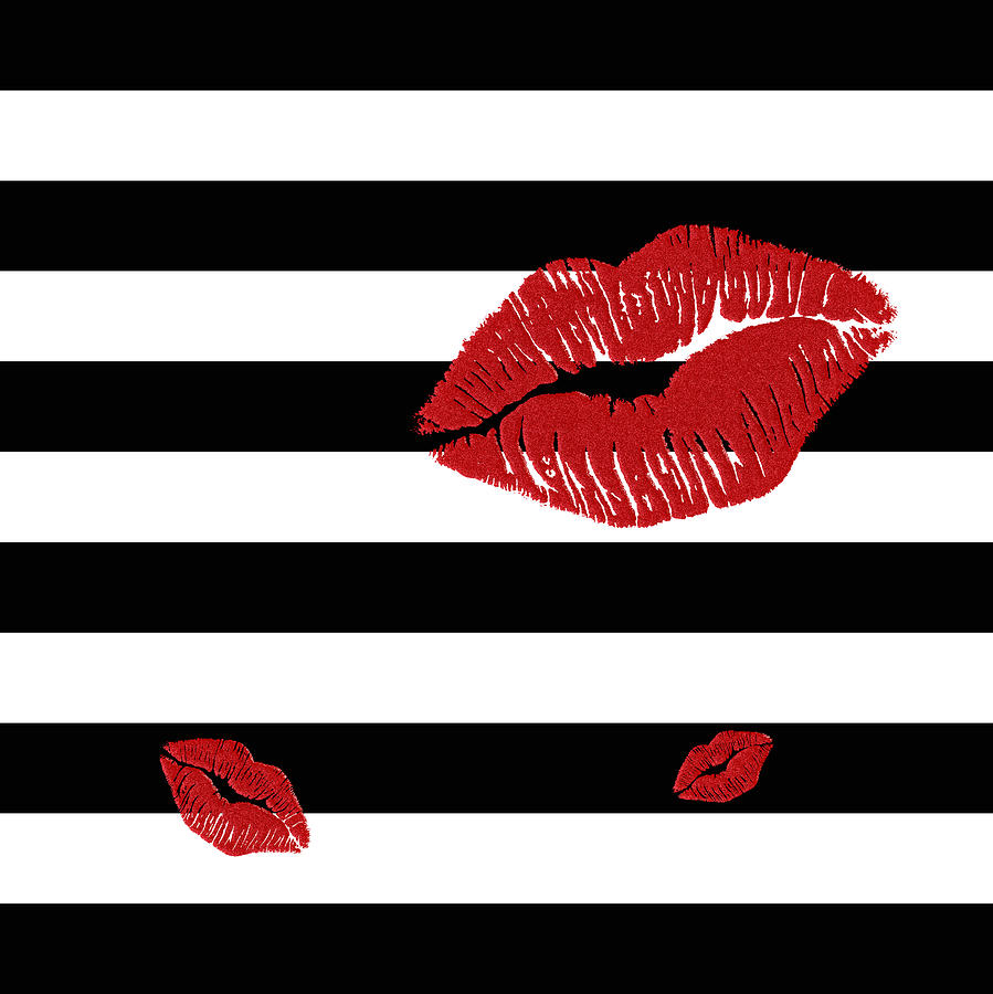 glitter red lips on
