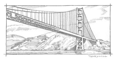 Golden Gate Bridge Sketch Mixed Media by Tom Taneyhill