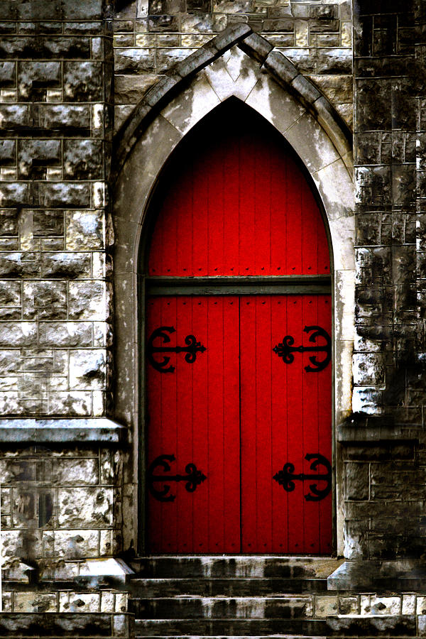 Gothic Red Door Memphis Church Photograph By Lesa Fine