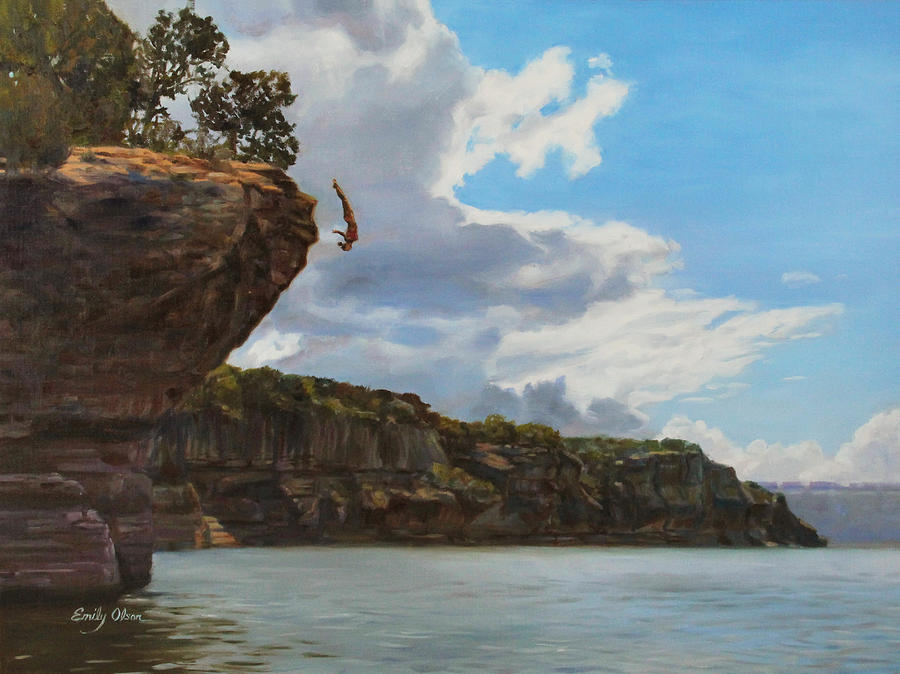 Graceful Cliff Dive Painting by Emily Olson