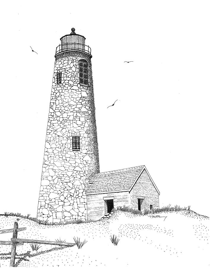 Great Point Lighthouse Drawing by Tim Murray
