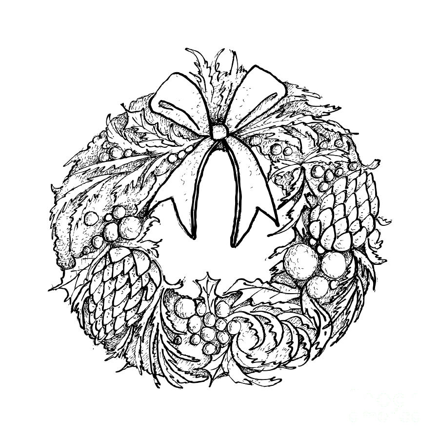 Hand Drawn Of Christmas Wreath With Decorations Drawing by