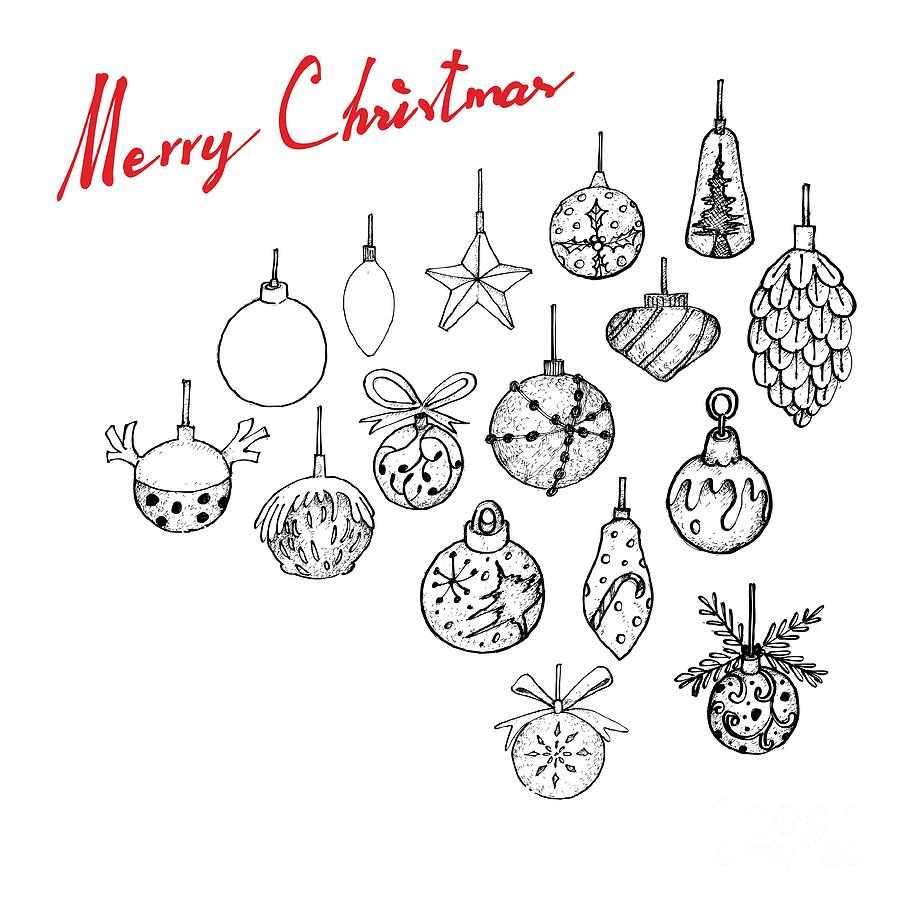 Hand Drawn Of Lovely Christmas Ornaments Hanging On The Air Drawing By Iam Nee