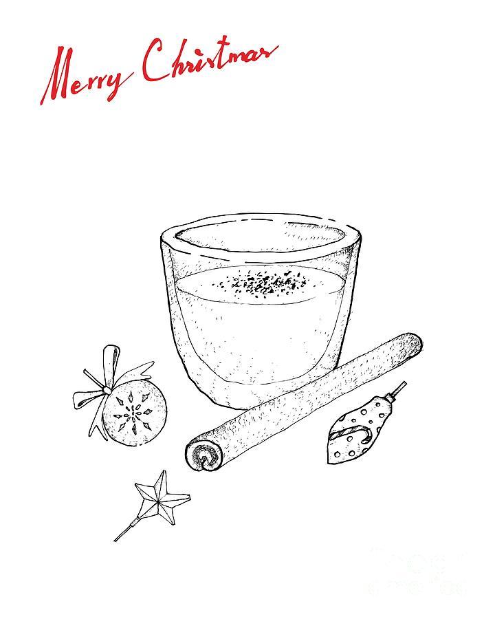 Hand Drawn of Traditional Christmas Drink Eggnog Drawing