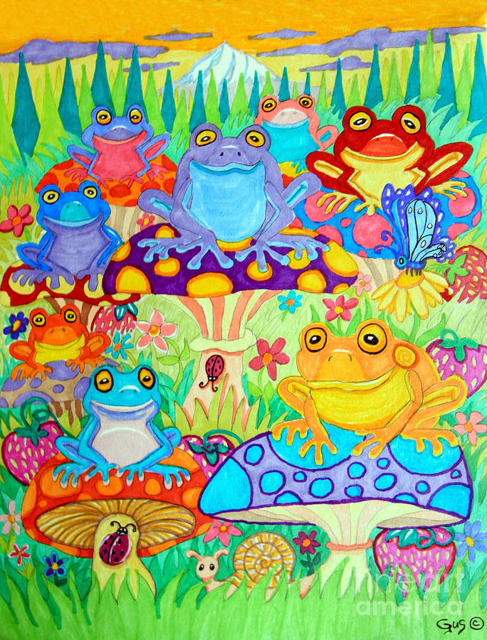 Happy Frogs In Mushroom Valley Drawing by Nick Gustafson