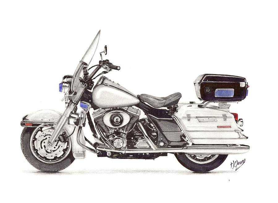Harley Davidson Police Special Drawing by Terence John Cleary