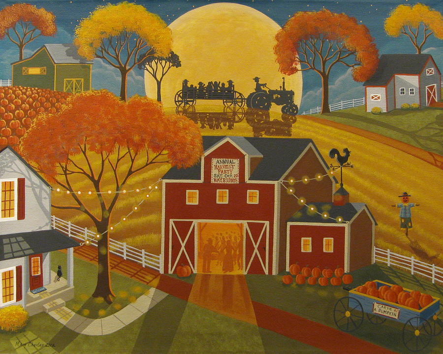 Fall Hills Wallpaper Harvest Party Painting By Mary Charles