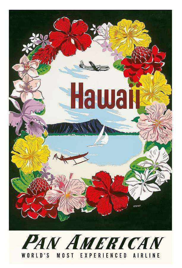hawaii flower lei and diamond head crater vintage hawaiian travel poster by a amspoker by retro graphics
