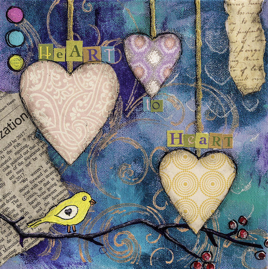 Heart To Heart Mixed Media by Wendy Provins