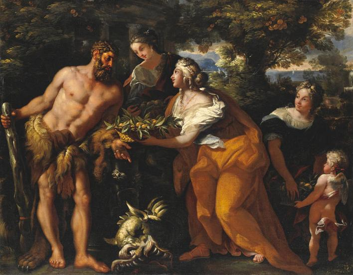 Hercules in the Garden of the Hesperides Painting by Michele Rocca