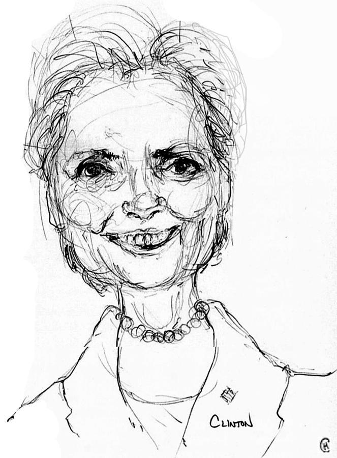 Hillary Clinton Drawing by Cameron Hampton PSA
